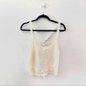 NWT Say What? Cream Knit crop top